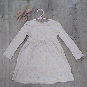 Old Navy gold polka dotted fit and flare dress 5T